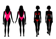 Silhouettes of women in bathing suit Stock Images