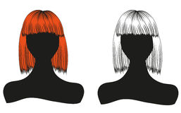 silhouettes of women with beautiful hairstyle  can be used as business cards and advertising and invitation and gift card Royalty Free Stock Images