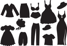 Silhouettes of women clothes Royalty Free Stock Photos