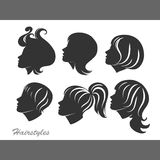 Silhouettes of women with hairstyles for design Stock Photo