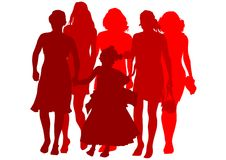 Silhouettes of women and kids Stock Photos