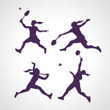 Silhouettes of women professional badminton players. Vector set Royalty Free Stock Photos
