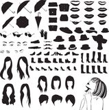 Silhouettes of women's accessories, shoes and other items of women's style Royalty Free Stock Photos