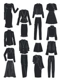 Silhouettes of women`s clothes for spring Stock Photo