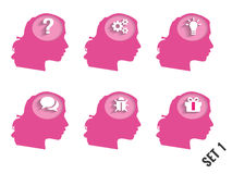 Silhouettes of womens heads with different objects Royalty Free Stock Photo