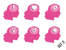 Silhouettes of women's heads with different objects. Set 2. Royalty Free Stock Image