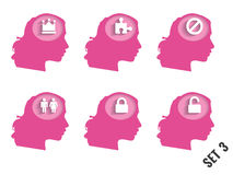 Silhouettes of women's heads with different objects. Set 3. Stock Image