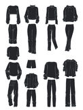 Silhouettes of women`s sport clothing Stock Images