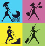 Silhouettes of women. Silhouette of a woman pushing a stroller. Royalty Free Stock Photography