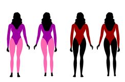 Silhouettes of women in sportswear Stock Photography