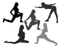 Silhouettes of Women in Yoga poses and sport exercises on a whit Stock Photography