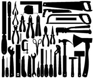 Silhouettes of Work Tools, Instruments. Vector Stock Images