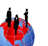 Silhouettes on a World Globe. Background with silhouettes on a world globe stock illustration