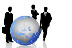 Silhouettes with a World Globe. Background with silhouettes and a world globe Stock Image