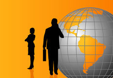 Silhouettes with a World Globe. Background with silhouettes and a world globe stock illustration