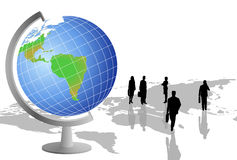 Silhouettes and World Globe. Background with silhouettes, world globe and a world map vector illustration