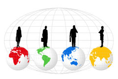 Silhouettes on World Globes. Background with silhouettes on world globes of different colors stock illustration