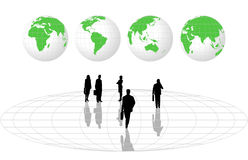 Silhouettes and World Globes. Illustration with silhouettes and world globes Royalty Free Stock Photography