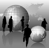 Silhouettes and World Globes. Background with silhouettes and world globes Royalty Free Stock Photos