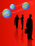 Silhouettes and World Globes. Background with silhouettes and world globes in the orbit royalty free illustration
