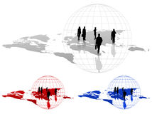 Silhouettes on a World Map. Background with silhouettes on a world map with alternative colors Stock Photography