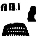 Silhouettes of world monuments Royalty Free Stock Images