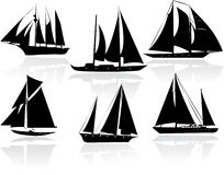 Silhouettes of yachts Stock Image