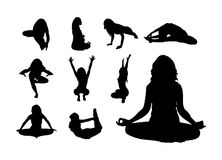 Silhouettes of Yoga Royalty Free Stock Images