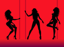 Silhouettes of young dancing beautiful woman Stock Image