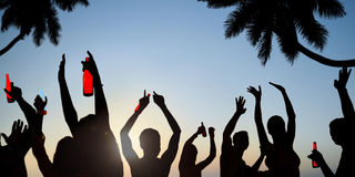 Silhouettes of Young People Celebrating, Drinking on a Beach Royalty Free Stock Photos