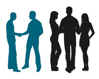 Silhouettes of young people chatting with each other Royalty Free Stock Images