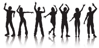 Silhouettes of young people dancing. Vector illustration Stock Photo