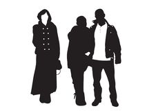 Silhouettes of young people Stock Photos