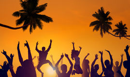 Silhouettes of Young People Partying on a Beach.  stock photos