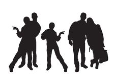 Silhouettes of young people. stock images