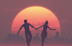 Silhouettes of young romantic couple Royalty Free Stock Photos