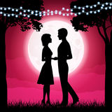 Silhouettes of young woman and man on the moon background Royalty Free Stock Photography