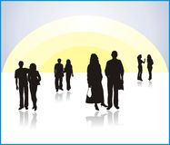 Silhouettes of youth. Illustrations. Vector Stock Photo