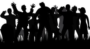 Silhouettes of zombies and tombstones Royalty Free Stock Photo