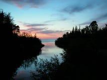 silhouetteskymning Arkivfoto