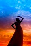 silhouettesolnedgångkvinna Arkivfoto