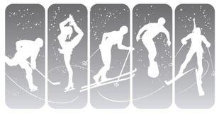 silhouettessportvinter vektor illustrationer