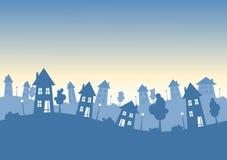 Silhouettestaden houses horisont stock illustrationer