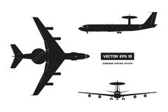 Silhouettet of military aircraft. Top, front and side jet view. Army airplane with airborne warning and control system. Silhouette of military aircraft. Top Stock Photography