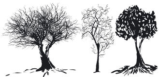 silhouettetree vektor illustrationer