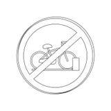 Silhouettez l'aire de stationnement interdit par panneau routier circulaire de découpe pour des bicyclettes Photo stock
