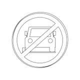 Silhouettez l'aire de stationnement interdit par panneau routier circulaire de découpe pour des voitures Image stock