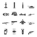 Silhouettez l'arme, les bras et les icônes simples de guerre Photo libre de droits