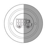 Silhouettez l'autocollant avec la forme circulaire avec le camion à benne basculante Photo stock