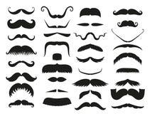 Silhouettez l'humain bouclé de mode de symbole de coiffeur et de monsieur de barbe de collection de moustache de vecteur de hippi Images libres de droits